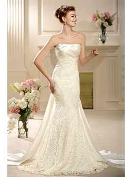 Attractive Empire Floor Length Strapless Watteau Lace Wedding Dress