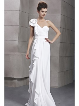 A Line One Shoulder Flower Ruffles Long Evening Dress