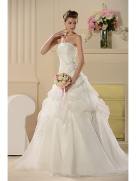 Gorgeous A Line Embroidering Strapless Court Train Wedding Dress