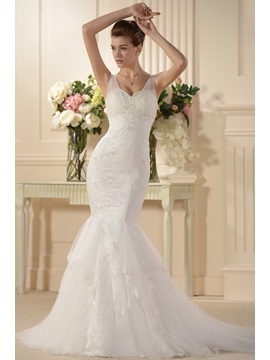 Attractive Trumpet Mermaid Embroidery Spaghetti Straps Wedding Dress