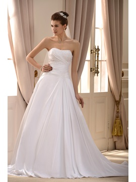 Simple Style Strapless A Line Sweep Train Hot Sell Appliques Wedding Dress