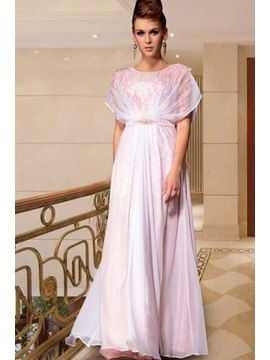 Beautiful Beading Appliques Short Sleeves A Line Floor Length Evening Dress