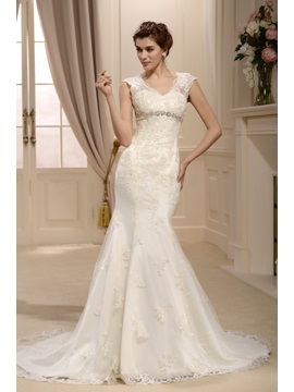 Spectacular Empire Trumpet Mermaid Straps Floor Length Chapel Lace Wedding Dress