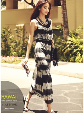 New Attractive Stripe Sleeveless Chiffon Dress With Vest Belt
