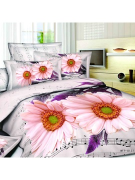 Top Quality White Florals And Wash Print 4 Piece Cotton Comforter Sets