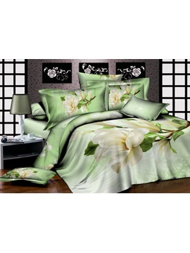 Cute Florals Active Printed 4 Piece Cotton Comforter Sets With Bud Green Color