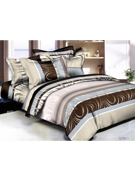 Popularable Strips Style 4 Piece Print Cotton Bedding Sets