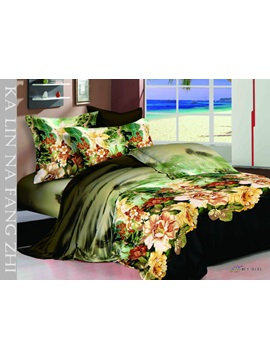 Green 4 Piece Cotton Bedding Sets With Colorful Floral Printing