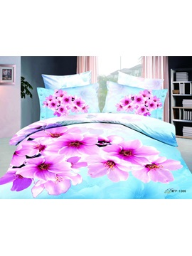 Romantic Light Blue Florals Printed 4 Piece Cotton Bedding Sets