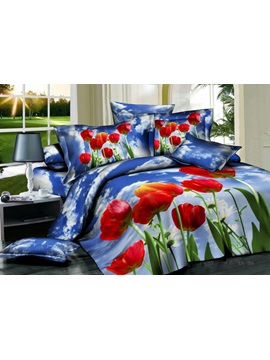 Top Quality Red Florals And Wash Print 4 Piece Cotton Comforter Sets