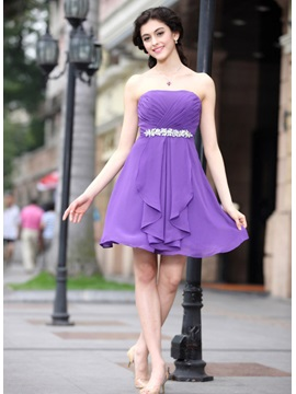 Modern Strapless A Line Short Mini Crystal Ruched Homecoming Dress