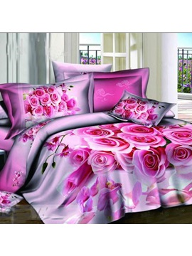 Sweet Rose Bouquet Print High Quality 100 Cotton 4 Pieces Bedding Sets