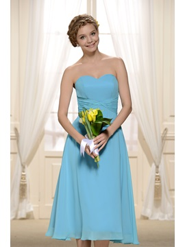 Cheap Knee Length Light Blue Bridesmaid Dress