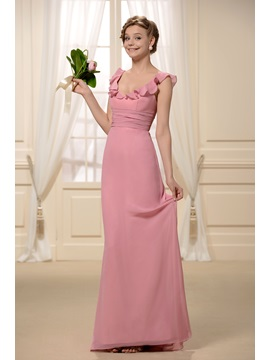 Spice Radiant Ruffled V Neck Sleeveless Floor Length Bridesmaid Dress