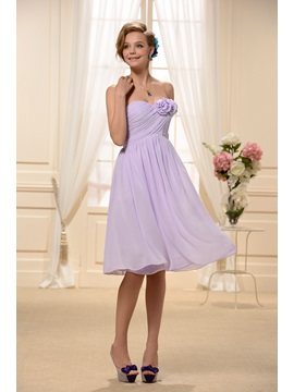 Pure Strapless Flowers Ruched A Line Knee Length Bridesmaid Homecoming Dress