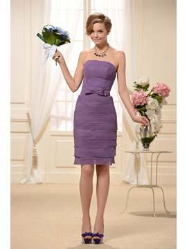 Enchanting Strapless Tiered Sheath Short Purple Chiffon Bridesmaid Dress