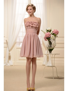 Cute Ruffles Flowers A Line Strapless Knee Length Sweet 16 Dress