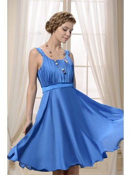 A Line Scoop Neckline Straps Ruffles Knee Length Bridesmaid Homecoming Dress