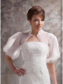 Unique Half Sleeve White Wedding Bolero Jacket