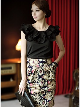Elegant Korean Style Empire Waist Print Petty Flowers Column Skirt