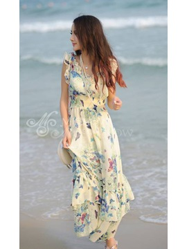 Fashion Falbala Laciness Chiffon Beach Dress