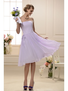Designer Knee Length Sashes Ribbons Strapless Bridesmaid Dress