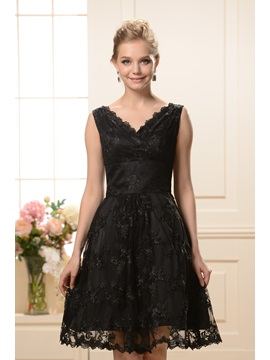 Fashionable A Line V Neck Knee Length Lace Nadyas Bridesmaid Dress