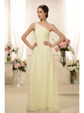 Enchanting Sashes Beaded Column Floor Length One Shoulder Bridesmaid Dress