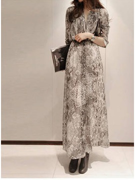 Chic Long Sleeve Print Sexy Bohemian Maxi Dress