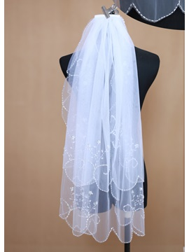 Elbow Two Tier Wedding Veil With Beaded Edge