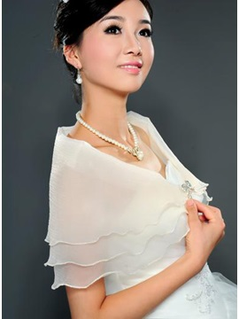 Glamorous Transparent Short Sleeve Gauze Wedding Wraps