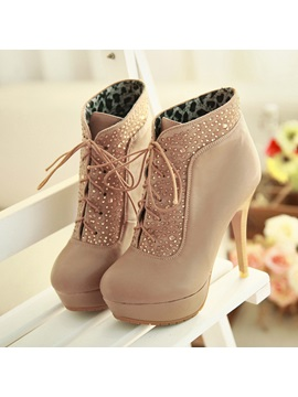 Rhinestones Stiletto Heel Lace Up Boots