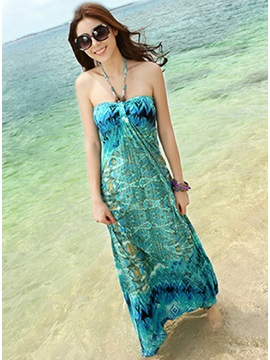 Celebrity Slim Large Size Floor Length Bohemian Dress