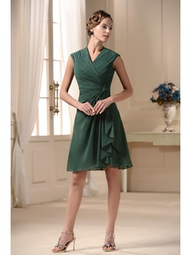 Popular V Neck Short Sleeve Knee Length Pick Up Mother Of The Bride Dress