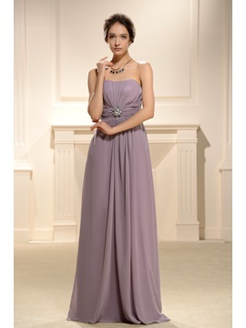 Faddish Pleats Empire Waist Strapless Floor Length Bridesmaid Dress