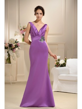Admireable Pleats Crystal Flowral Pin Mermaid Trumpet V Neck Floor Length Bridesmaid Dress