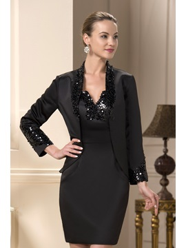Sequin Beaded V Neck Sheath Short Mother Of The Bride Dress With Jacket Shawl