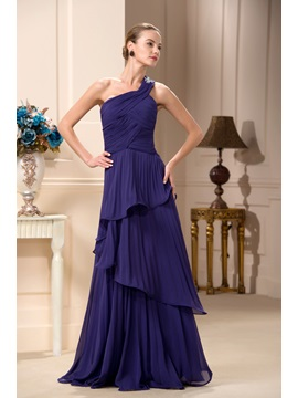 Tiered A Line One Shoulder Floor Length Mother Of The Bride Dress