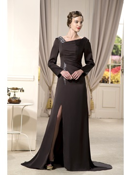 Luxurious Long Sleeves Sheath Column Bateau Floor Length Formal Dress