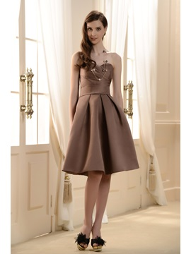 Satin Sweetheart Neckline With Short A Line Pleated Skirt Bridesmaid Dress