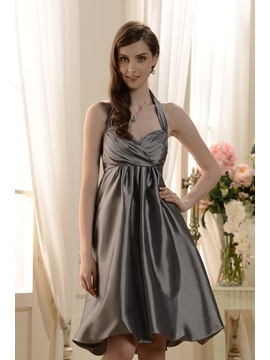 Delicate Ruched A Line Halter Knee Length Bridesmaid Dress