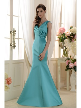 Elegant Pleats Flower Tumpet Mermaid Floor Length V Neck Bridesmaid Dress