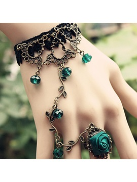 Bohemian Retro Blue Womens Rings Bracelet