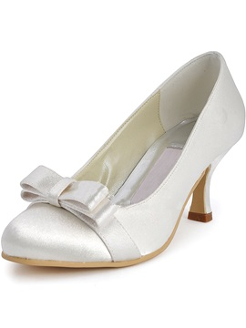 Elegant Diamonds Bow Knot Satin Wedding Shoes