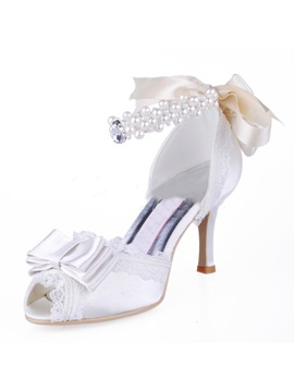 Romantic Bowknot Pearls Satin Wedding Shoes