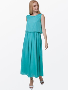 Summer Pure Color Chiffon Dress