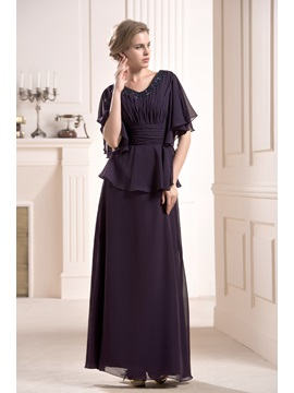 Faddish Beaded Tiered Floor Length V Neck Half Sleeves Mother Of The Bride Dress
