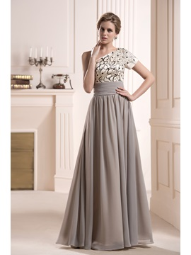 Faddish Sequins Beaded One Shoulder Short Sleeve Floor Length Mother Of The Bride Dress