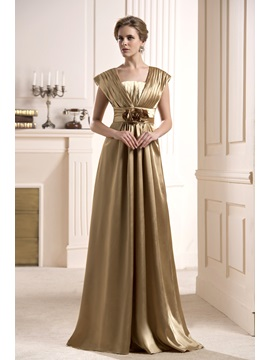 Elegant Flowers Tiered A Line Floor Length Mother Of The Bride Dress