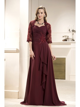Lace Ruffles A Line Sweetheart Floor Length Mother Of The Bride Dress